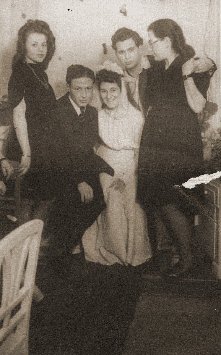 Wedding of Hinda Chilewicz and Welek Luksenburg in the Weiden displaced persons' camp.   Standing behind them are Halinika Szegotzky and Kalman and Ada Blacharz.