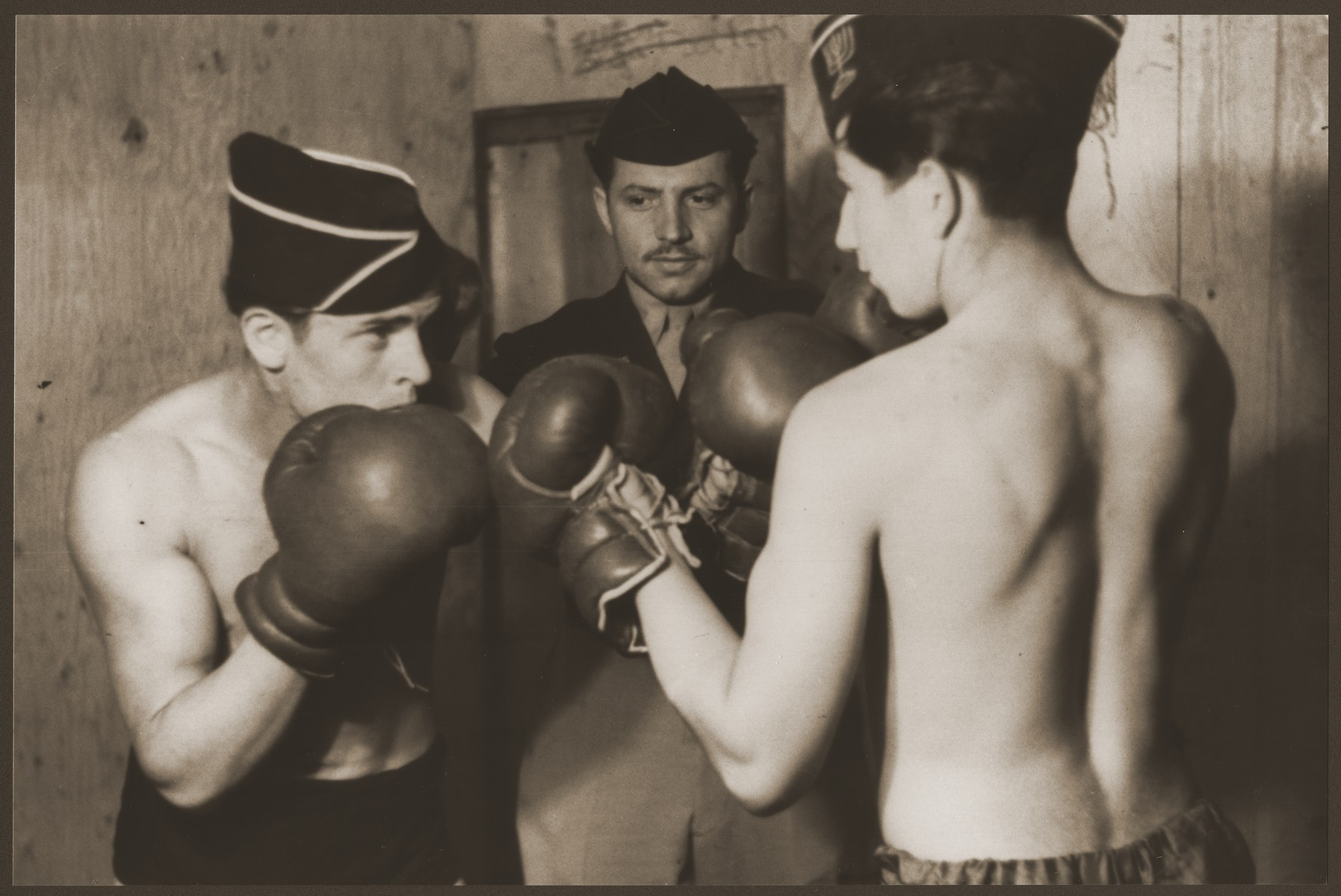 Jewish youth boxing at the Vaad Hatzala sponsored Jabotinsky Children's Home.