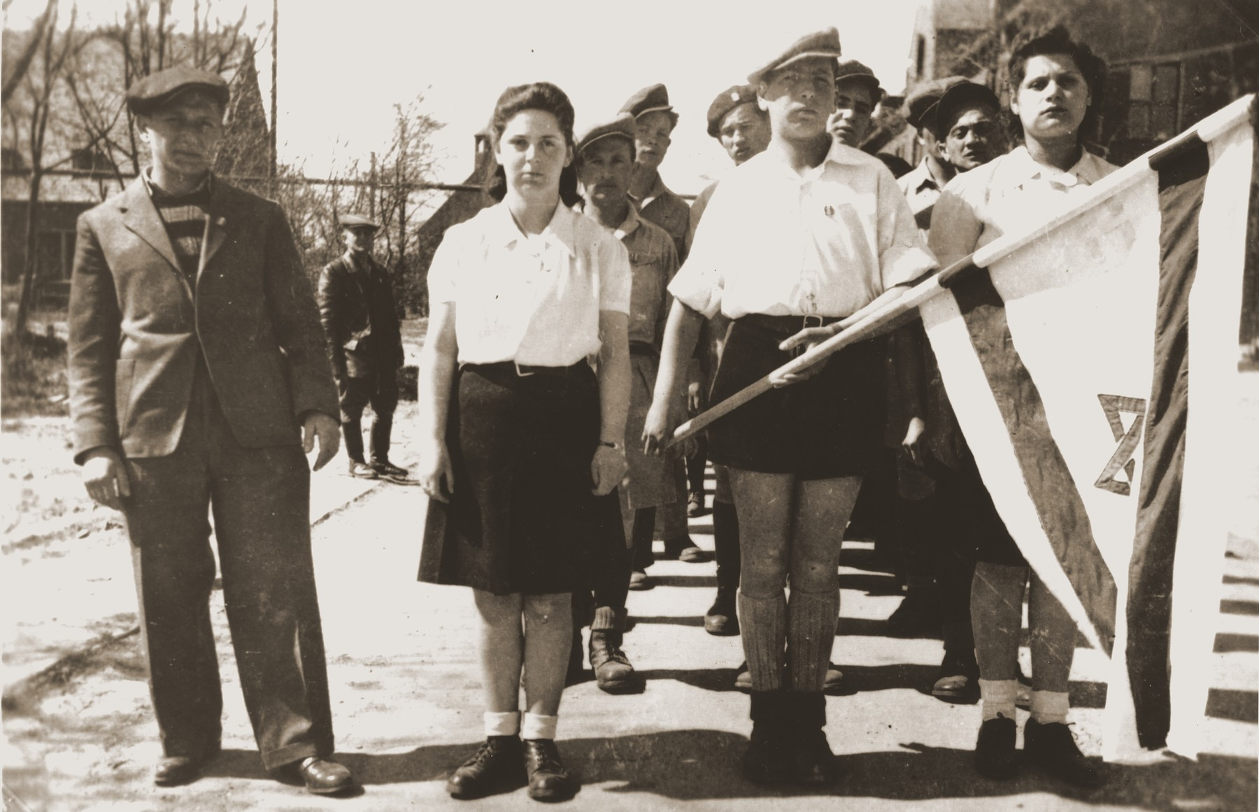 Young DPs march in a Zionist demonstration at the Bergen-Belsen displaced persons camp.