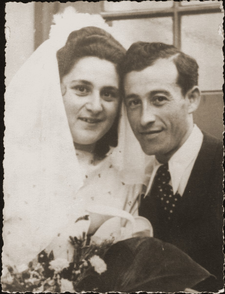 Wedding portrait of the Jewish DP couple, Fajgl Fiszel and Berl Moncznik.    They were married on Lag b'Omer, May 27, 1948 in the Prinz Albrecht Hall in Munich.