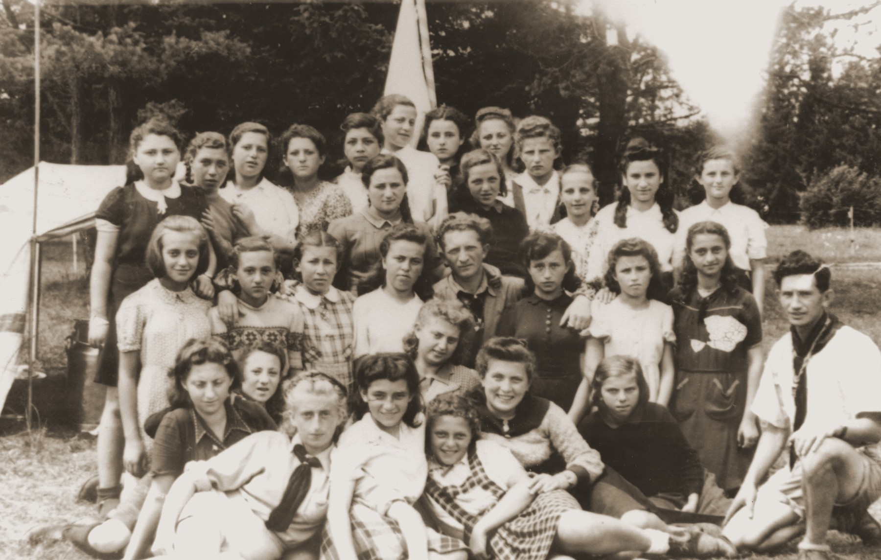 Group portrait of Jewish youth in the Bad Reichenhall DP camp.