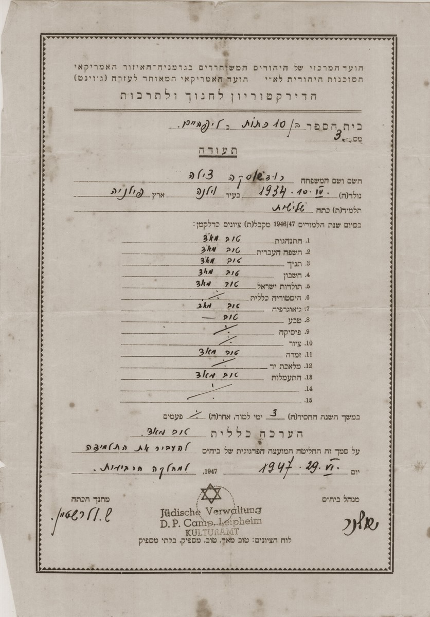 Report card issued to Cilia Rudashevsky by the Hebrew school in the Leipheim displaced persons camp.