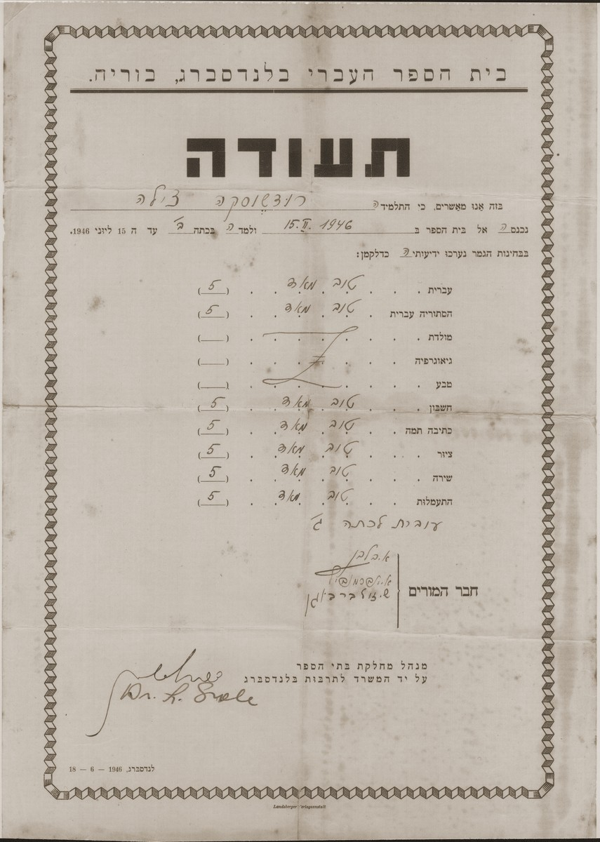 Report card issued to Cilia Rudashevsky by the Hebrew school in the Landsburg displaced persons camp.  The report card bears the signature of three teachers, A. Balaban, A. Abramovitch and S. Zilberbogen.