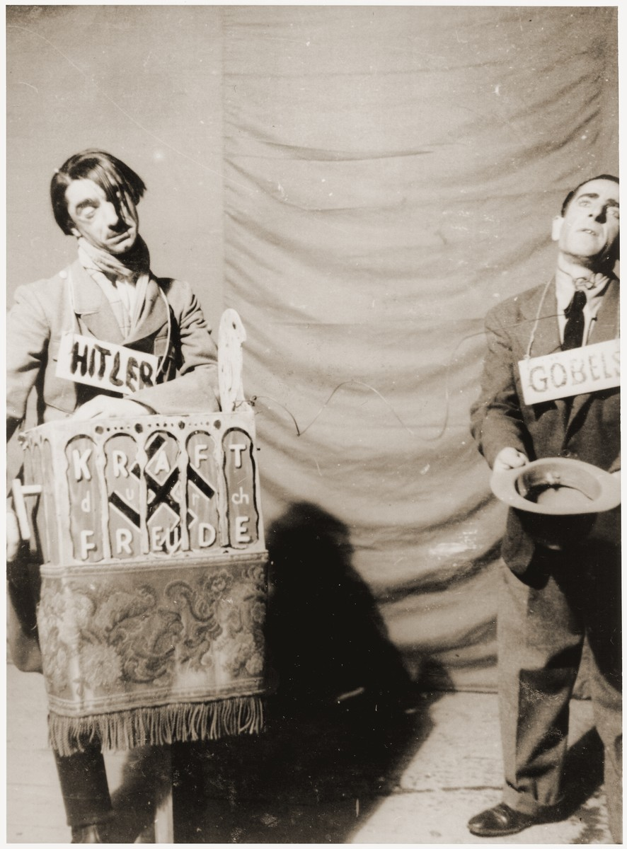 Jewish DPs dress up as Hitler and Goebbels for a Purim play at the Feldafing displaced persons camp.