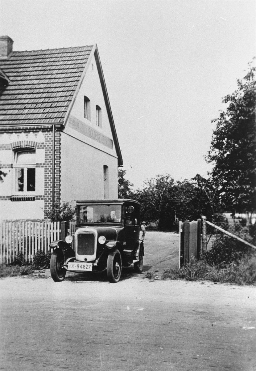 The Kusserow family home in Bad Lippspringe.  The family kept religious materials in the right side of the trunk of the car and distributed them from it as well.