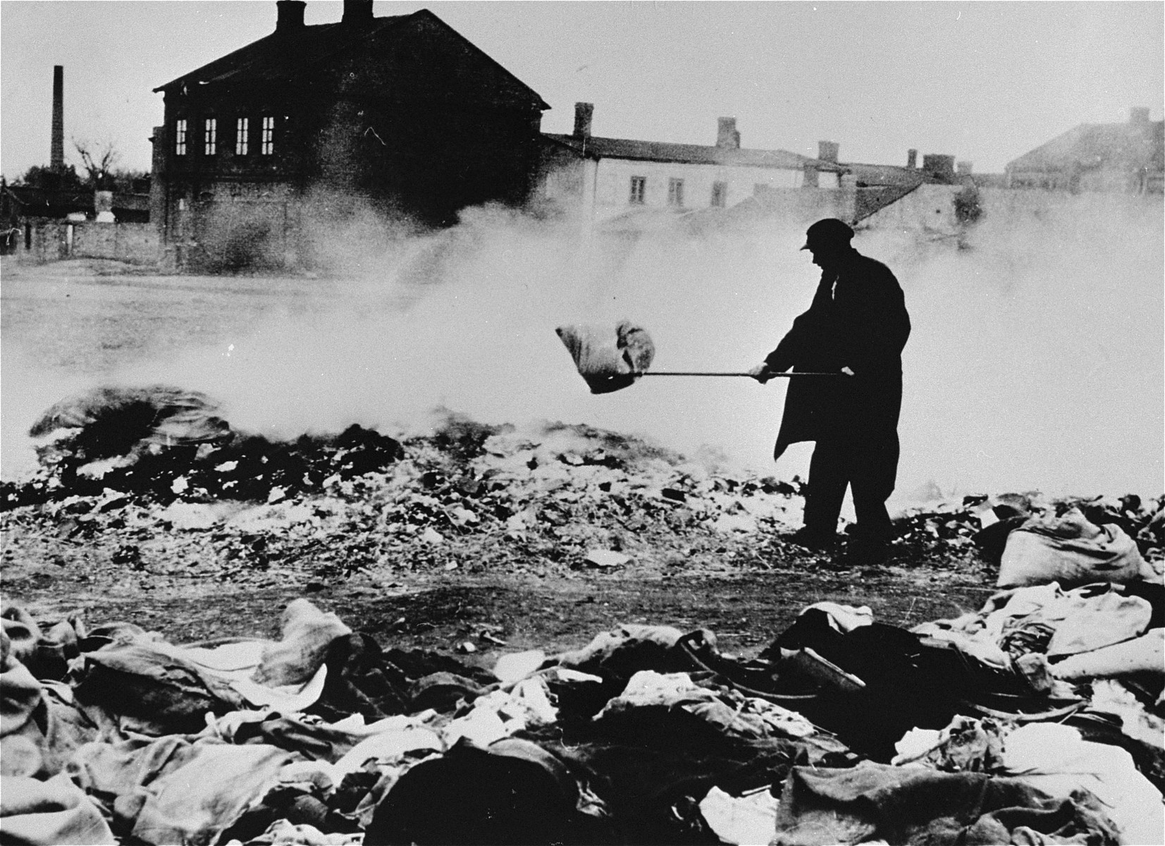 The personal effects of Jews who have been deported are burned in the Zychlin ghetto.