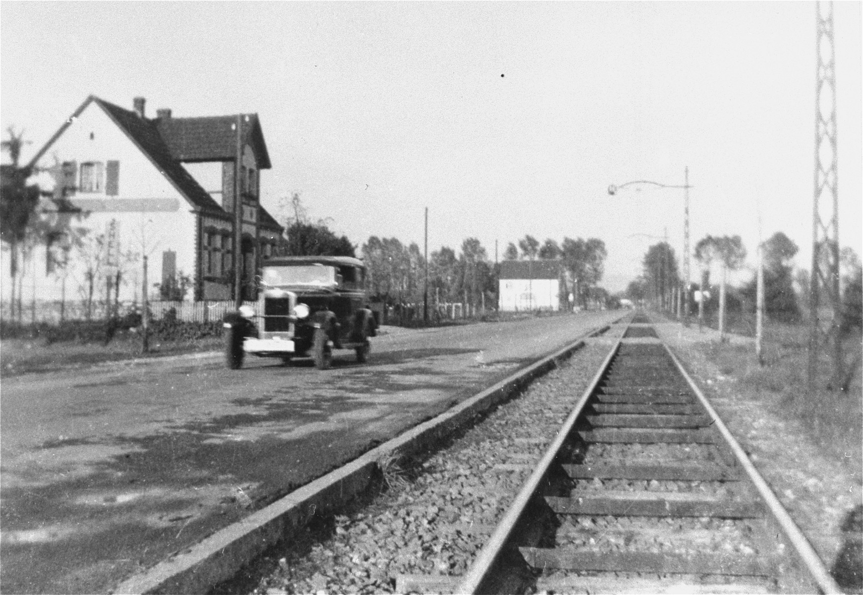 The Kusserow family home in Bad Lippspringe and the tram tracks in front of it.