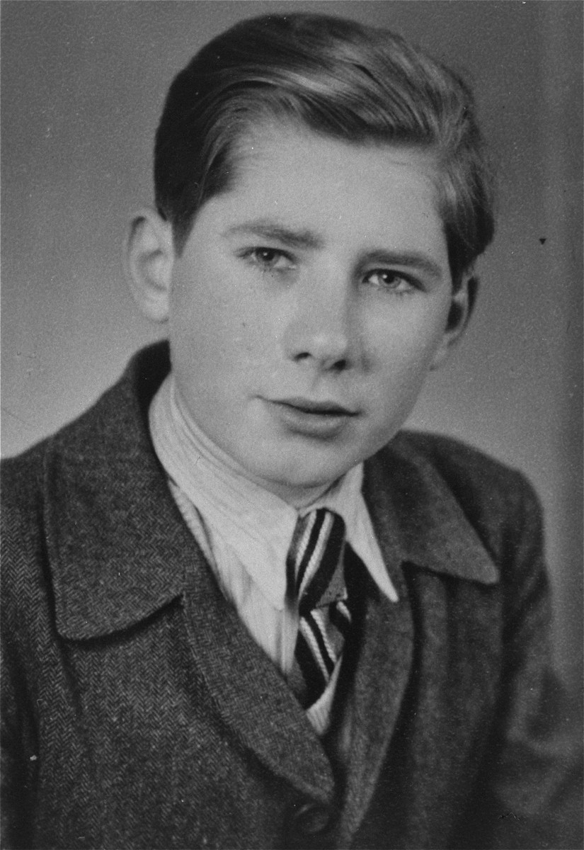 """Paul-Gerhard Kusserow in Bad Lippspringe one year after his liberation.    Paul-Gerhard, his brother Hans-Werner, and his sister Elisabeth were forcibly removed from school and separated from their family on 7 March 1939 because of """"spiritual and moral neglect"""" as a result of their parents' being Jehovah's Witnesses."""