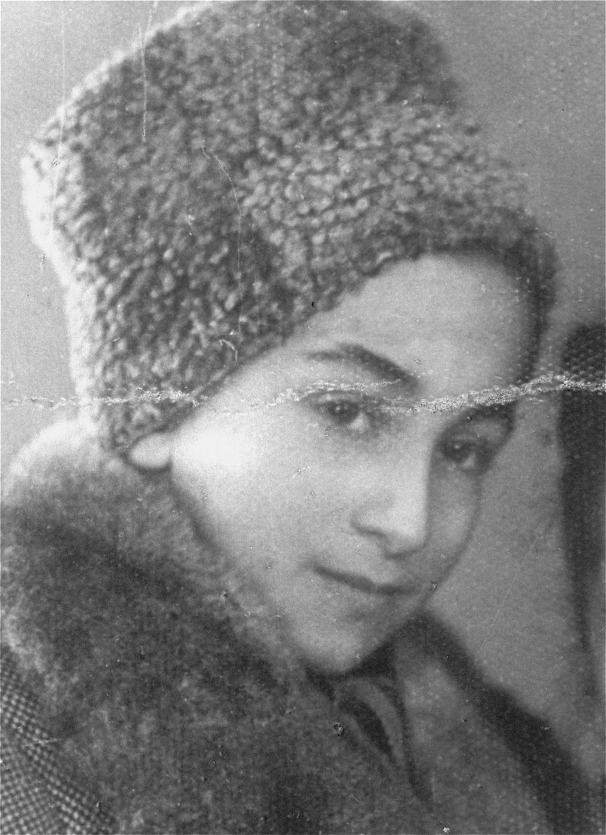 Portrait of a Jewish boy wearing a fur hat in Tarnow, Poland.  Pictured is Shimon Argond (b. 1931).