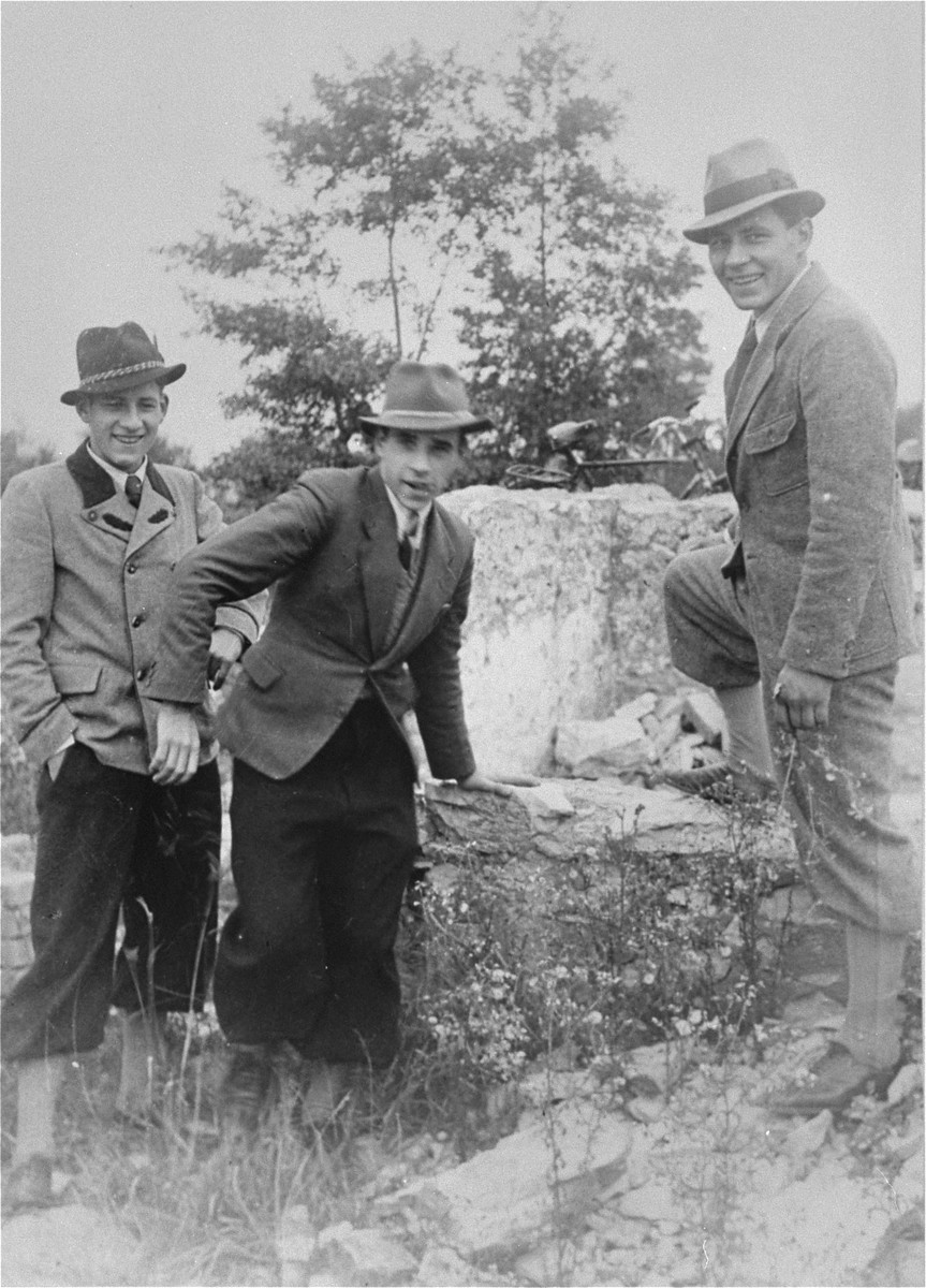 The Kusserow brothers, Wolfgang (left), Wilhelm, and Karl-Heinz in the countryside near the family home in Bad Lippspringe.