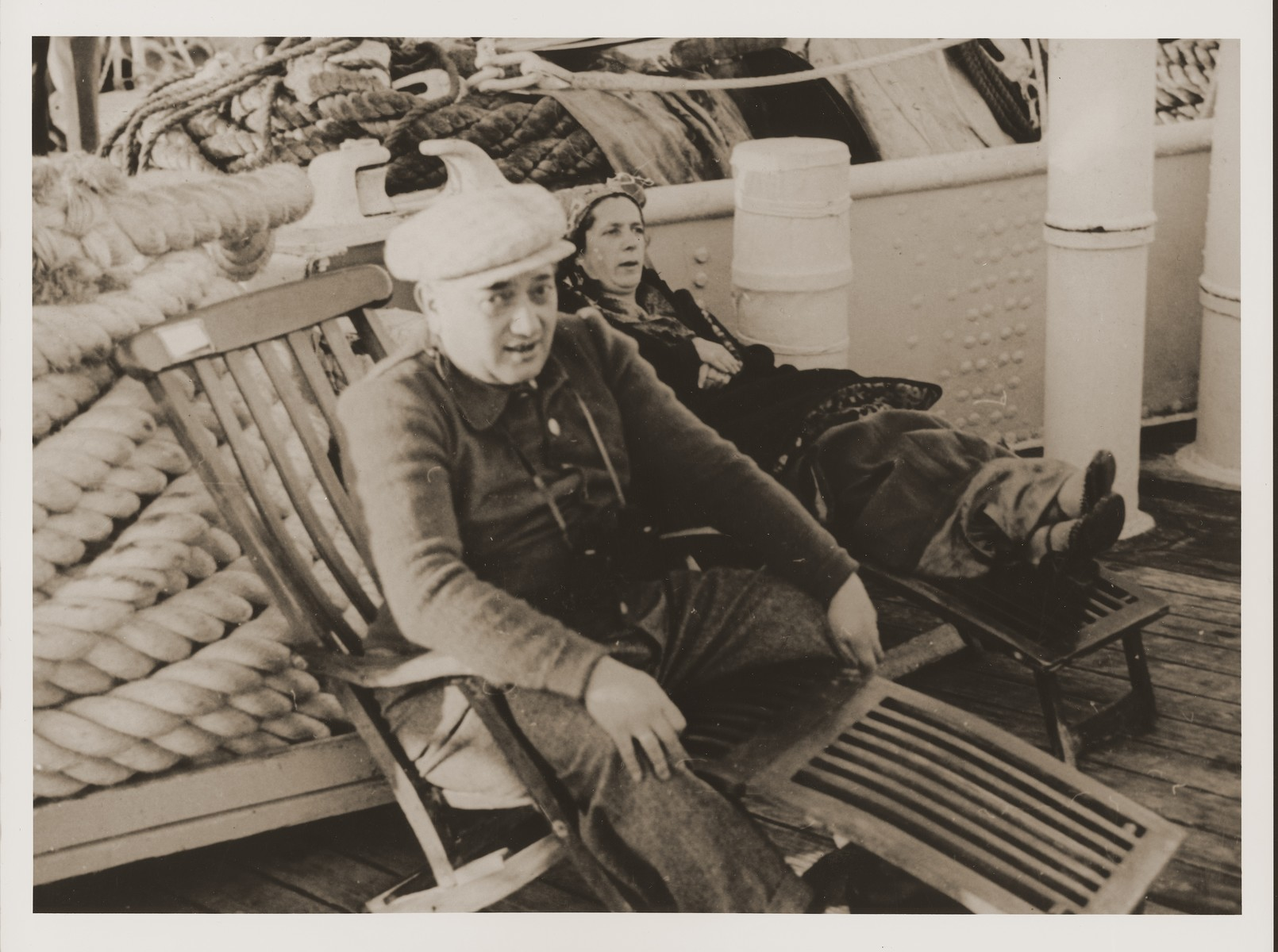 Jewish refugees from Vienna sit on the deck of the Conte Biancamano while en route to Shanghai.