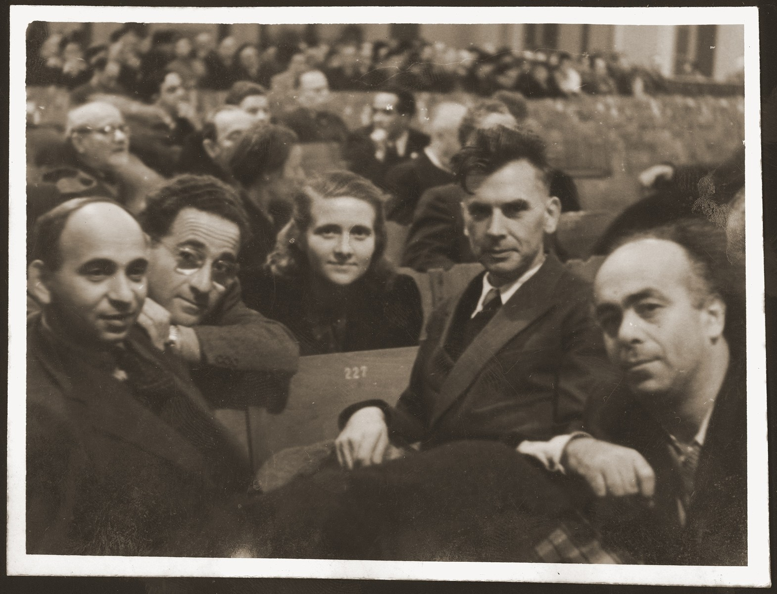 Delegates to the twenty-second World Zionist Congress in Basel.    Pictured from right  to left are: Avraham Shlonsky (Hebrew poet), Moshe Pomerantz, Haika Grosman, Josef Jambor (editor of a Hungarian newspaper), and Chanan Rubin (head of the socialist league in Palestine).