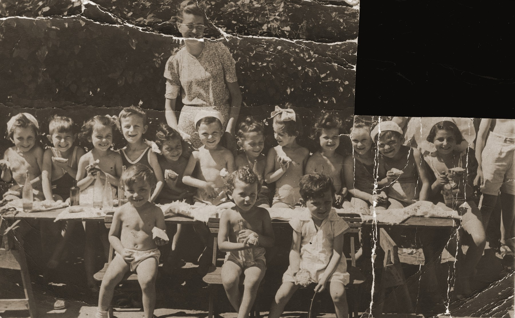 Group portrait of Jewish preschoolers in the kindergarten established by Ita Rozencwajg in the Warsaw ghetto.