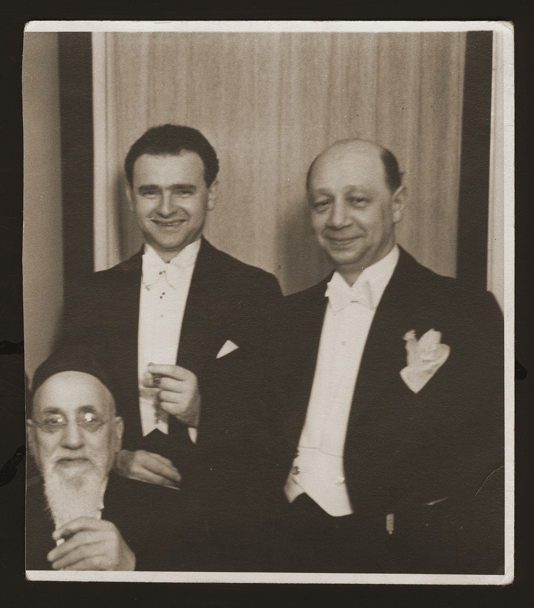 Religious leaders of the Copenhagen Jewish Community.    Sitting is Magna Hartwig.  Standing left to right are chief cantor Leo Grabowski and Torah reader Julius Kaminkowitz.