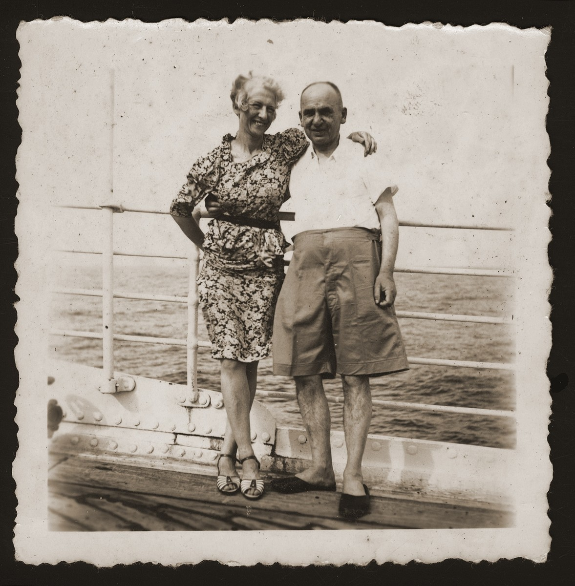 The donor's parents, Carl and Elsa Victor, on the deck of the SS Conte Rosso, while en route to Shanghai.