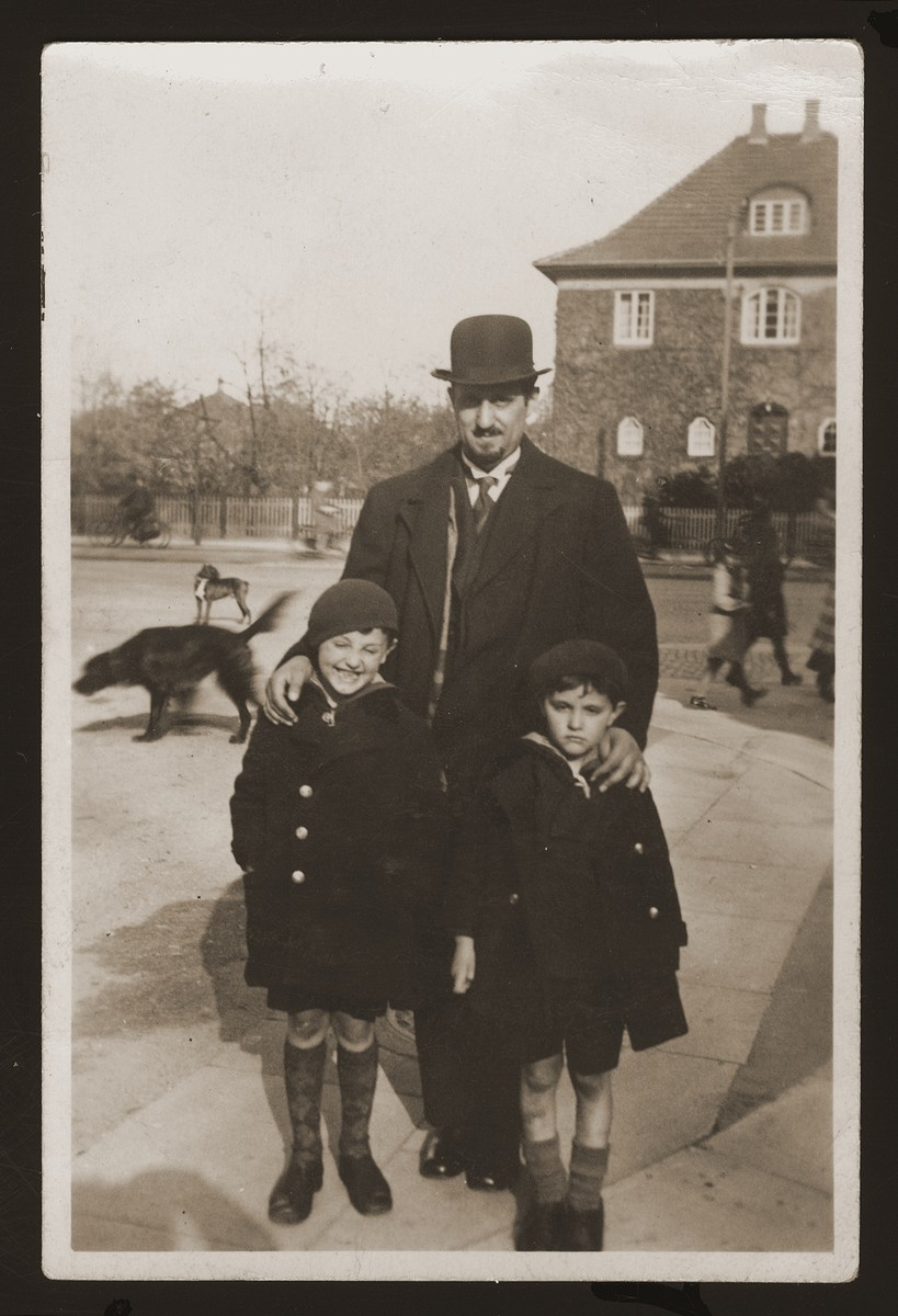 Cantor Eugene Goldberger poses with his sons Milan and Leo shortly after moving to Copenhagen.