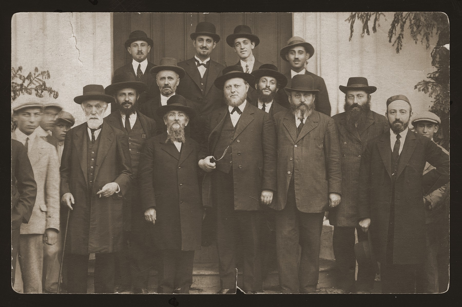 Rabbis and cantors gathered in Senica.    Third from the left on the front row is Cantor Klein, originally from Ungvar, Slovakia.  Behind him is his son-in-law, Bernat Berkovic, the cantor of Senica, and husband of Regina Klein.  Behind him (second from the left) is his son-in-law, Eugene Goldberger, chief cantor of Troppau, Moravia.