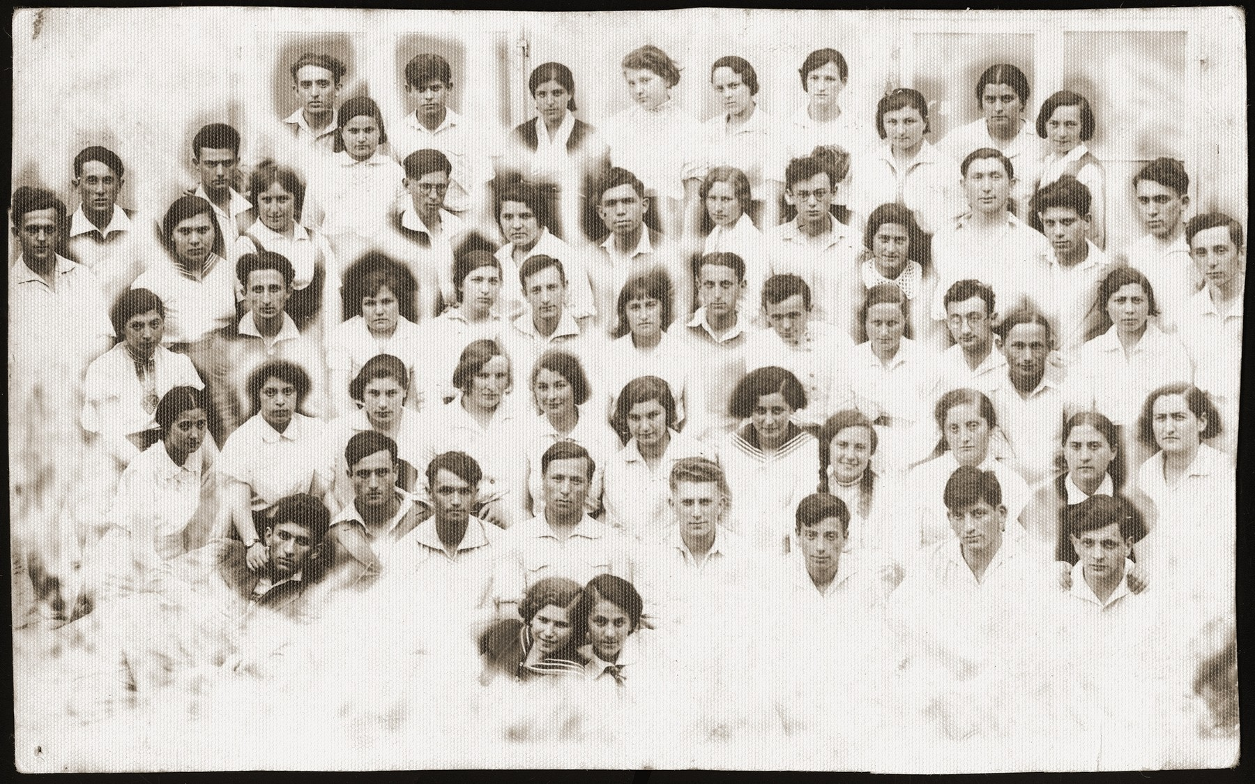 Group portrait of members of the Hashomer Hatzair hachshara in Kalisz.   Among those pictured is Meir Orkin, a leader of the Bialystok Hashomer Hatzair group (third row from the front, on the far right), who later married Haika Grosman.
