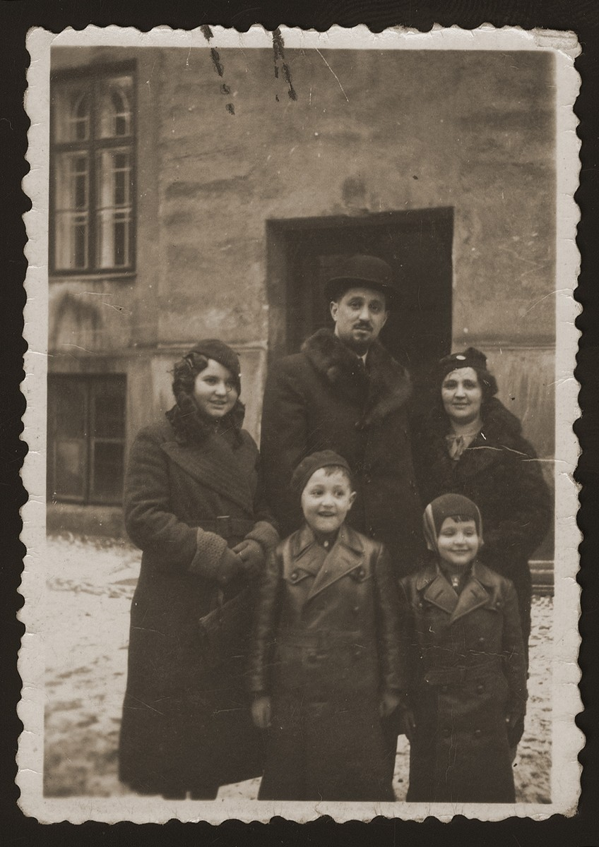 Portrait of Helen (Berkovic) Goldberger, Eugene Goldberger and their sons Milan and Leo taken shortly before the family moved to Denmark.