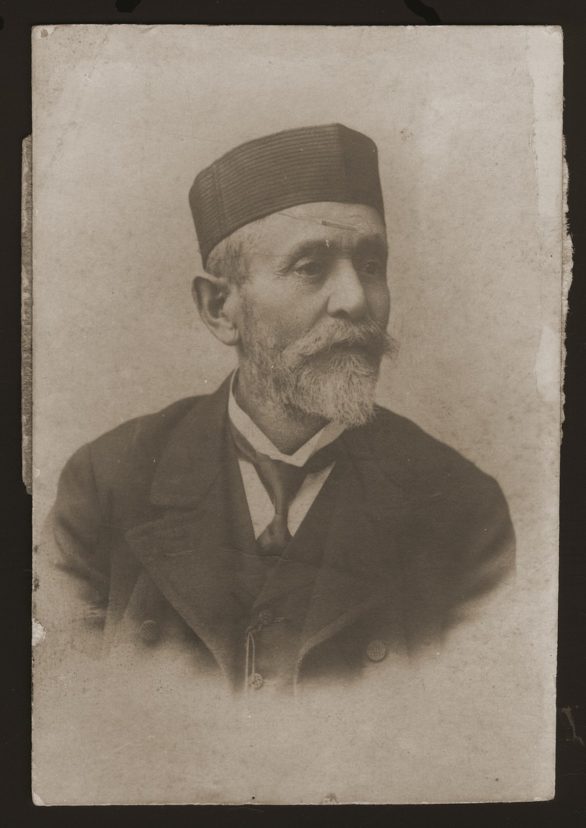 Portrait of Cantor Emanuel Goldberger.  He was the fourth  generation cantor in his family and the father of eight children including Cantor Eugene Goldberger, chief cantor of Denmark.