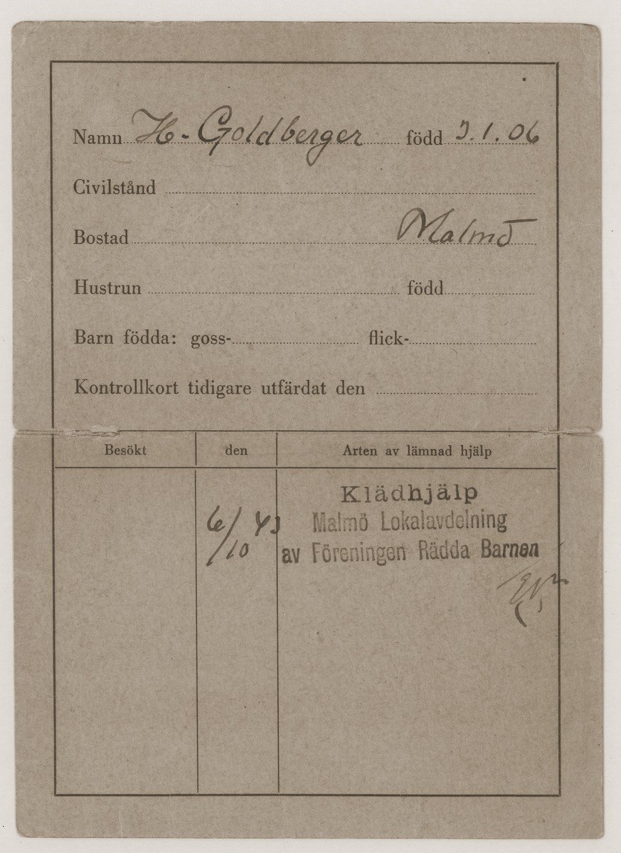 Voucher for clean, dry clothing issued to the Goldberger family.  These vouchers were issued to Danish refugees who arrived in Sweden frequently quite wet from their voyage with few dry clothes.