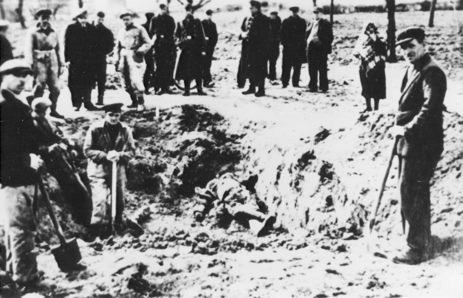 Laborers exhume the corpses of people shot during an action on 12 May 1942.    Among those pictured is the group leader, Zygmunt Opala.