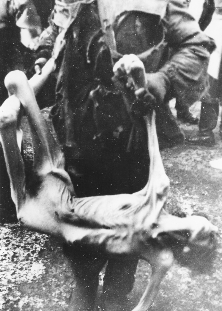 The emaciated corpse of a Jewish woman who perished in the Warsaw ghetto is carried to a mass grave.