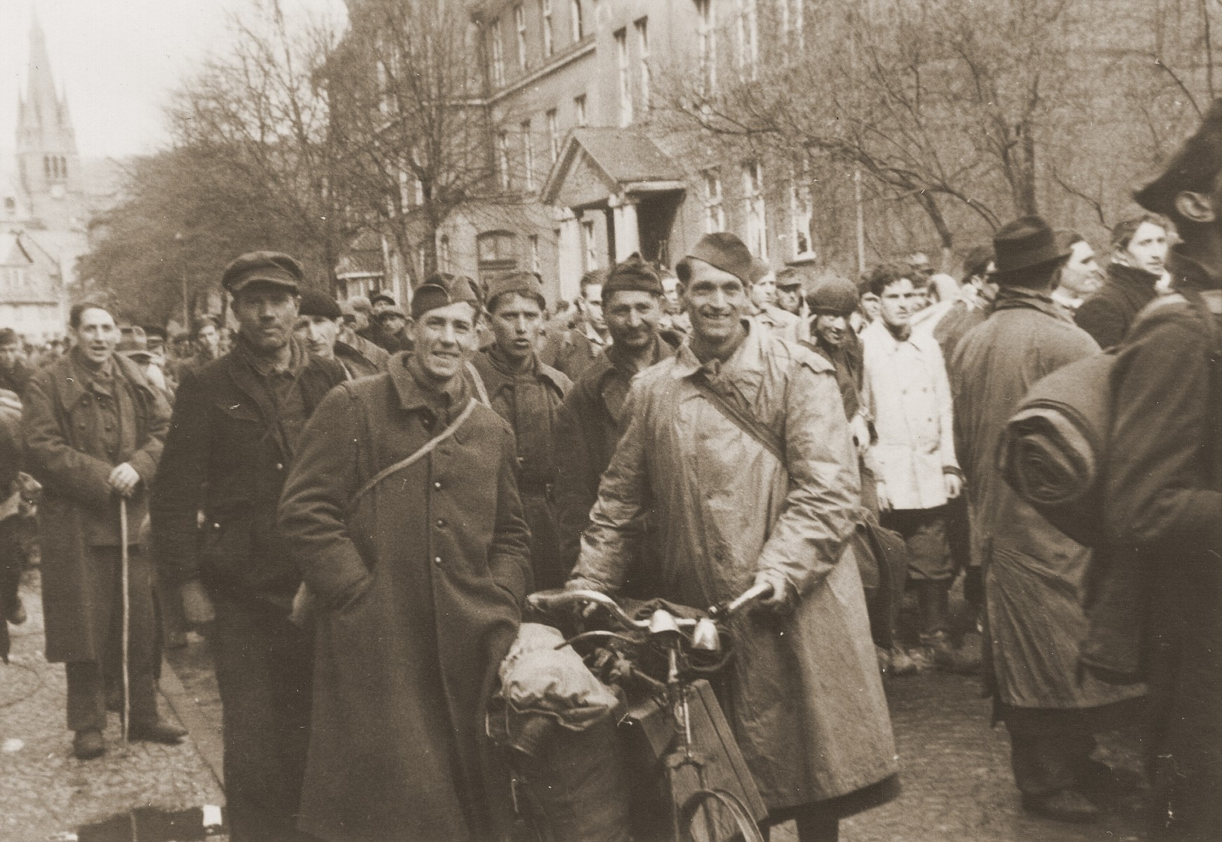 Displaced persons in the town of Dillenburg after the liberation of the area by U.S. troops.