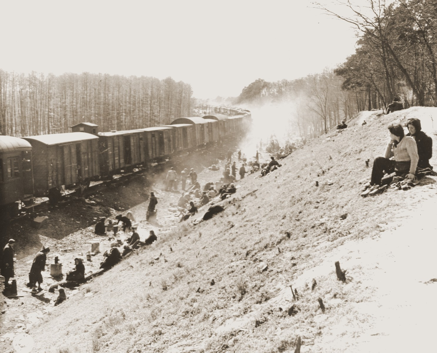 Survivors rest on an embankment next to a stopped train.  Among those liberated was Lisette Lamon.