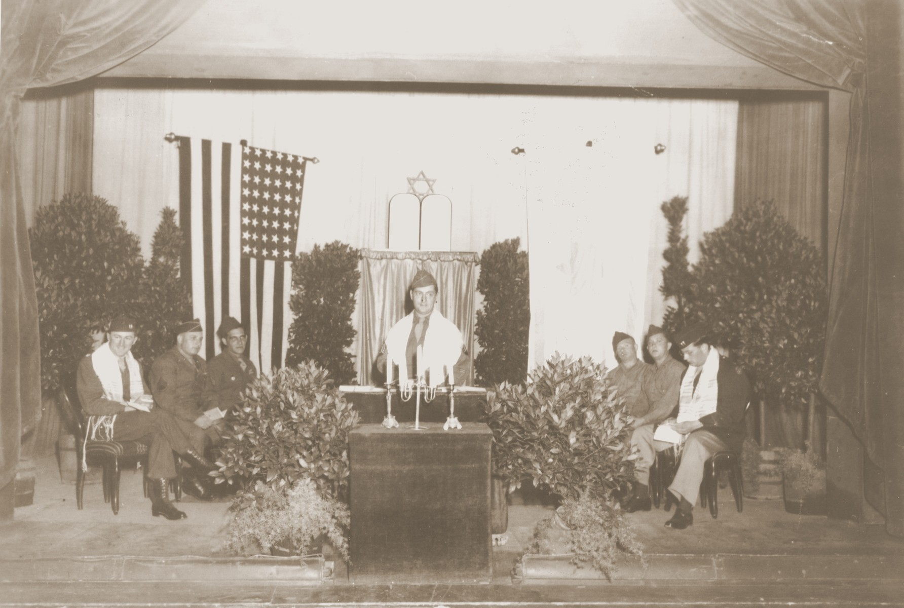 American Jewish soldiers conduct religious services in Germany.