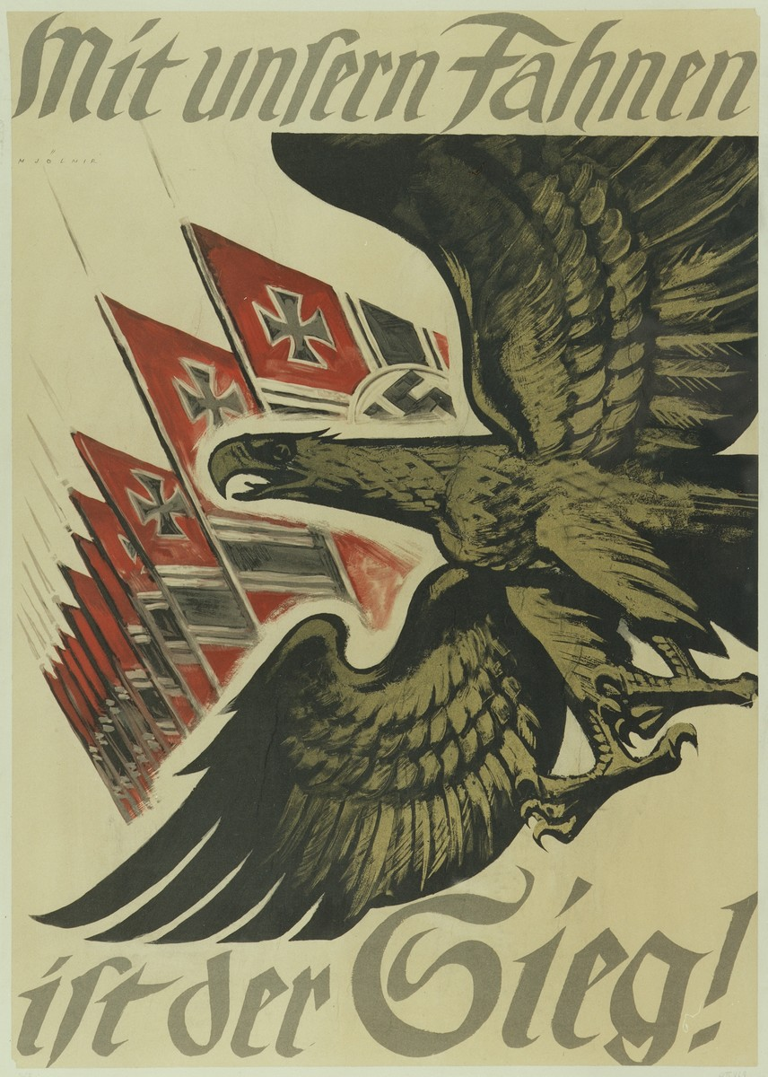 """Poster in German promoting support for the war effort with the words, """"The victory belongs to our flag!""""  In the center is a drawing of an eagle with outspread wings and a row of red and black battle flags."""