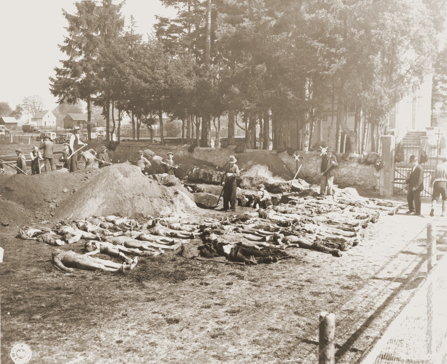 German civilians from Schwarzenfeld dig graves for the 140 Hungarian, Russian, and Polish Jews exhumed from a mass grave near the town.    The victims died while on an evacuation transport from the Flossenbuerg concentration camp.