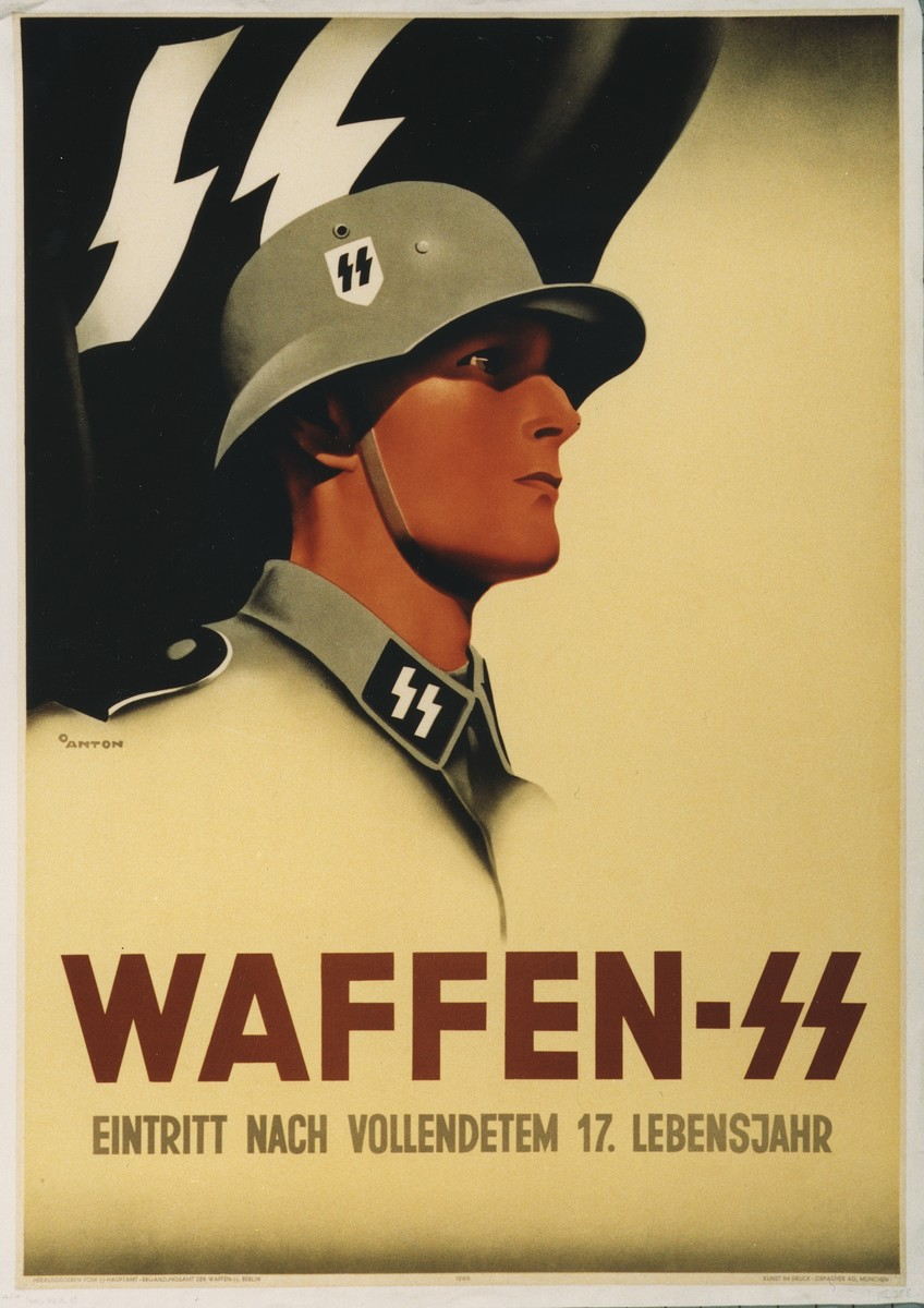 Poster encouraging youth to enlist in the Waffen SS at the end of their 17th year.  Illustration shows a helmeted SS soldier before a black SS flag.