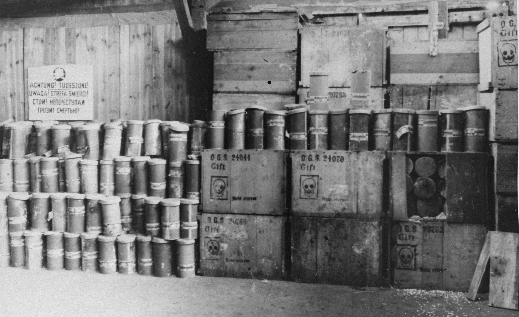 A warehouse filled with containers of Zyklon B (poison gas pellets) at the Majdanek death camp.