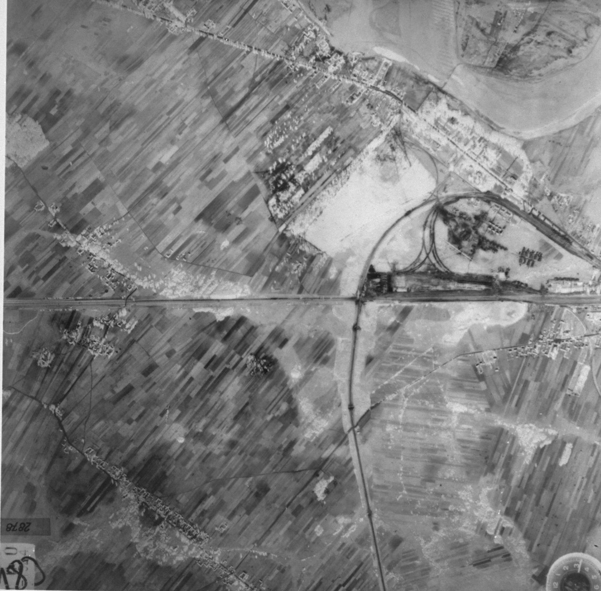 An aerial photo of the area around the Treblinka concentration camp taken by the German air force.