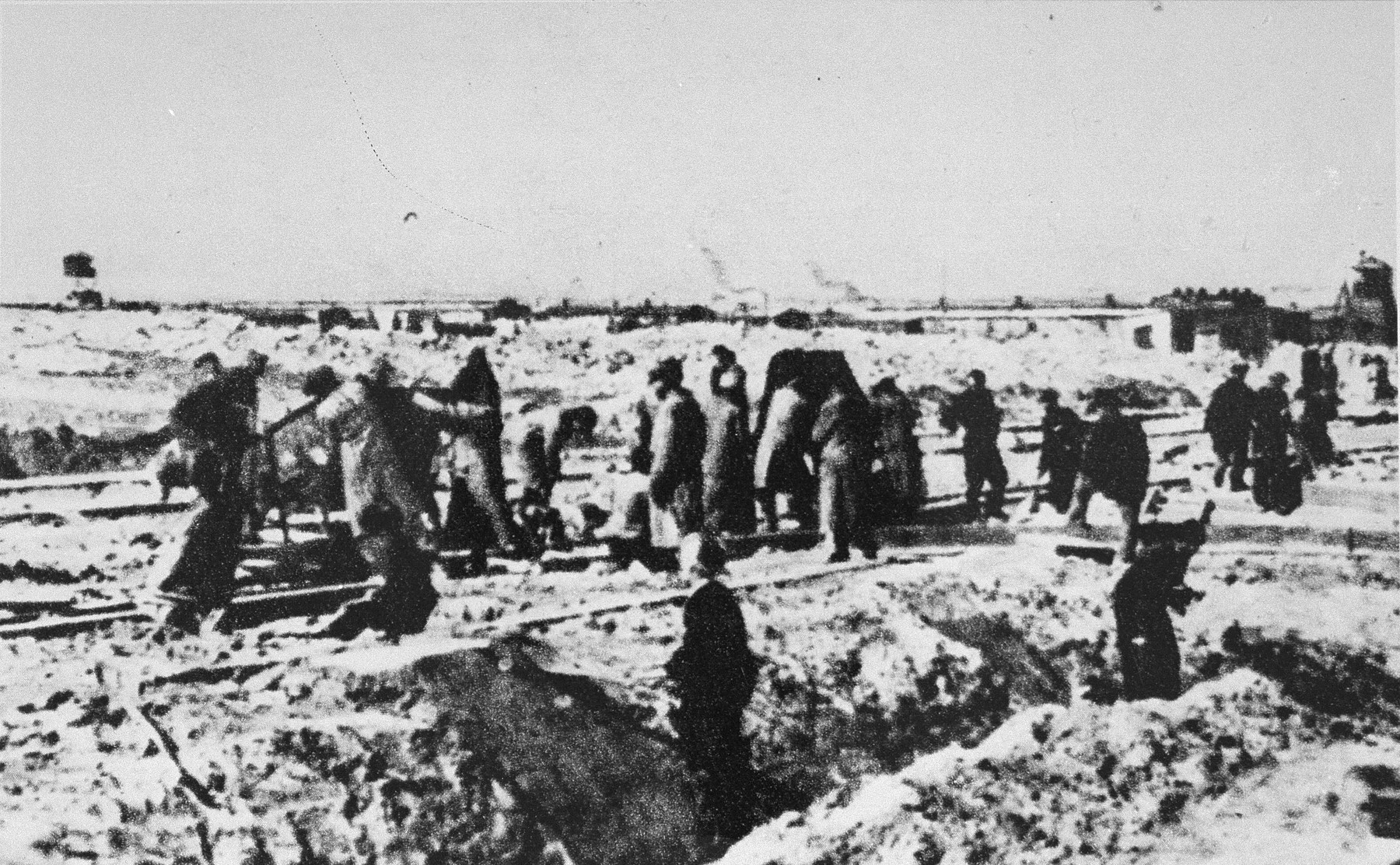 Forced laborers work outdoors in the Majdanek concentration camp.