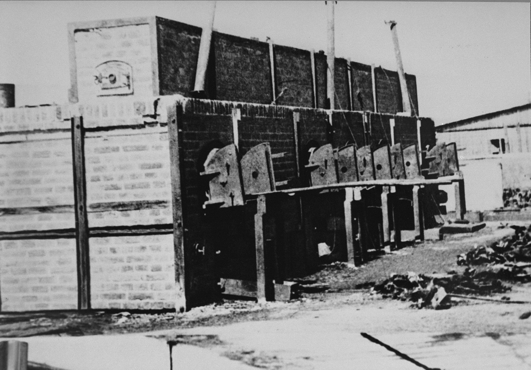 View of crematorium ovens at the Majdanek concentration camp after the liberation.