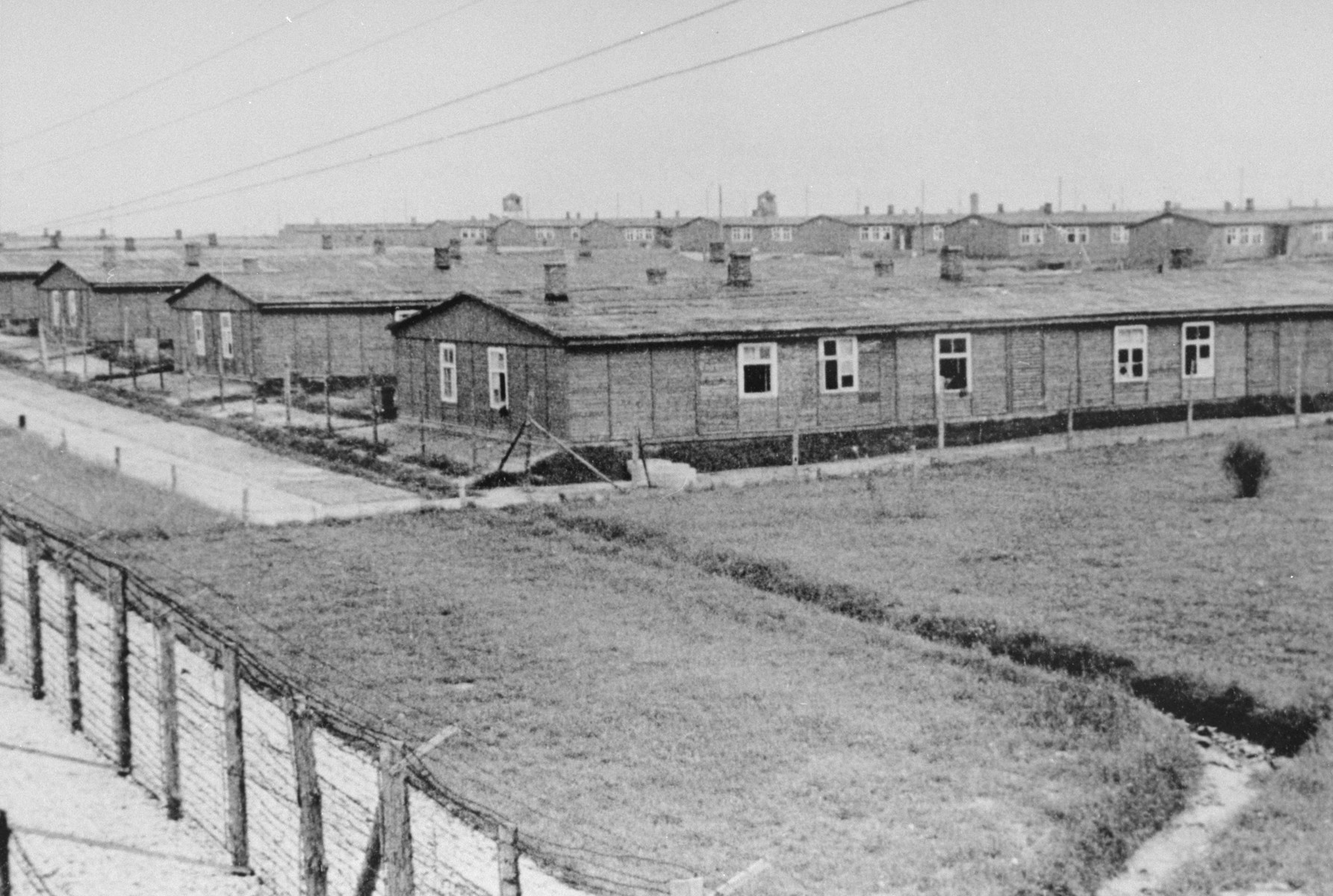 A view of the barracks from a watch tower in Majdanek.