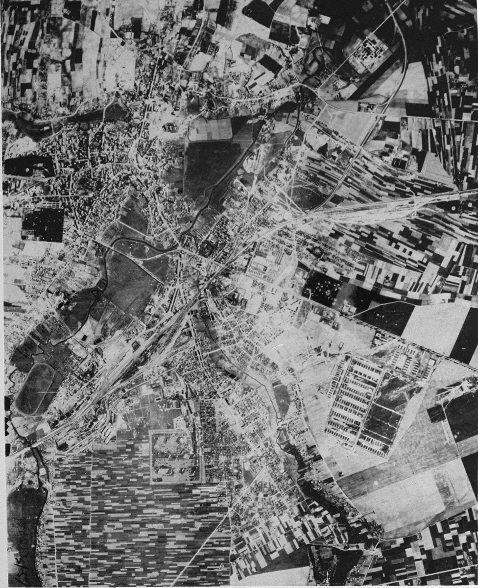 An aerial reconnaissance photograph of the Majdanek camp located outside of Lublin.