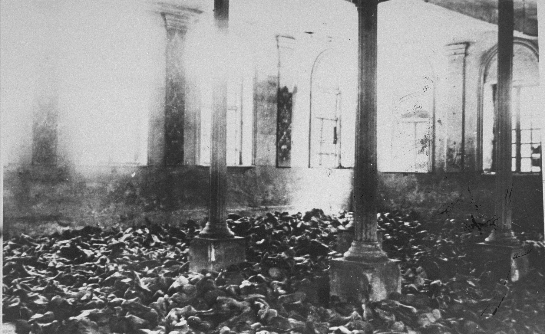 The belongings of Jews gassed at Chelmno cover the floor of a synagogue in nearby Kolo, where prisoners were kept before they were taken by truck to the killing center.