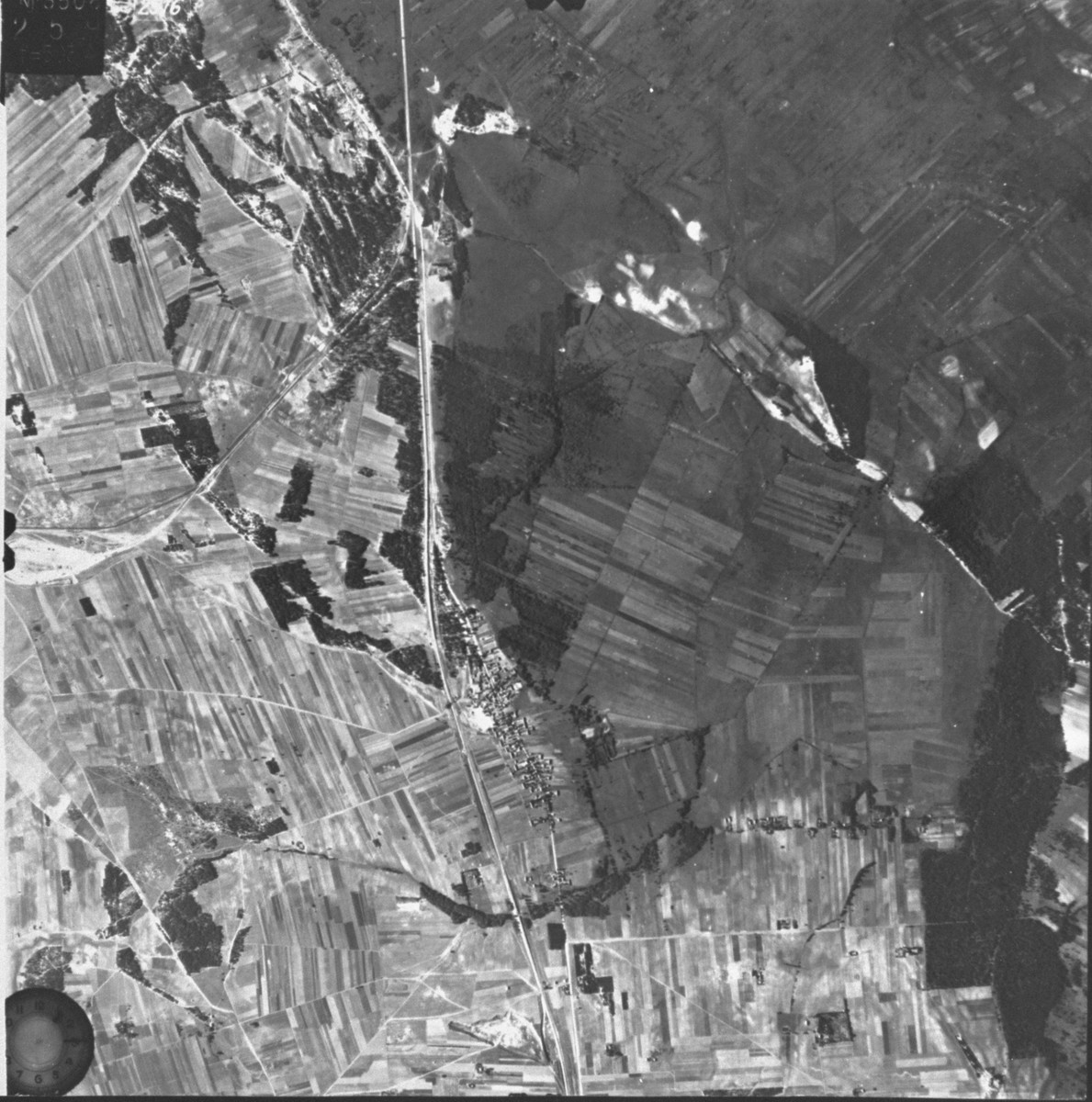 An aerial photograph of the Treblinka area.