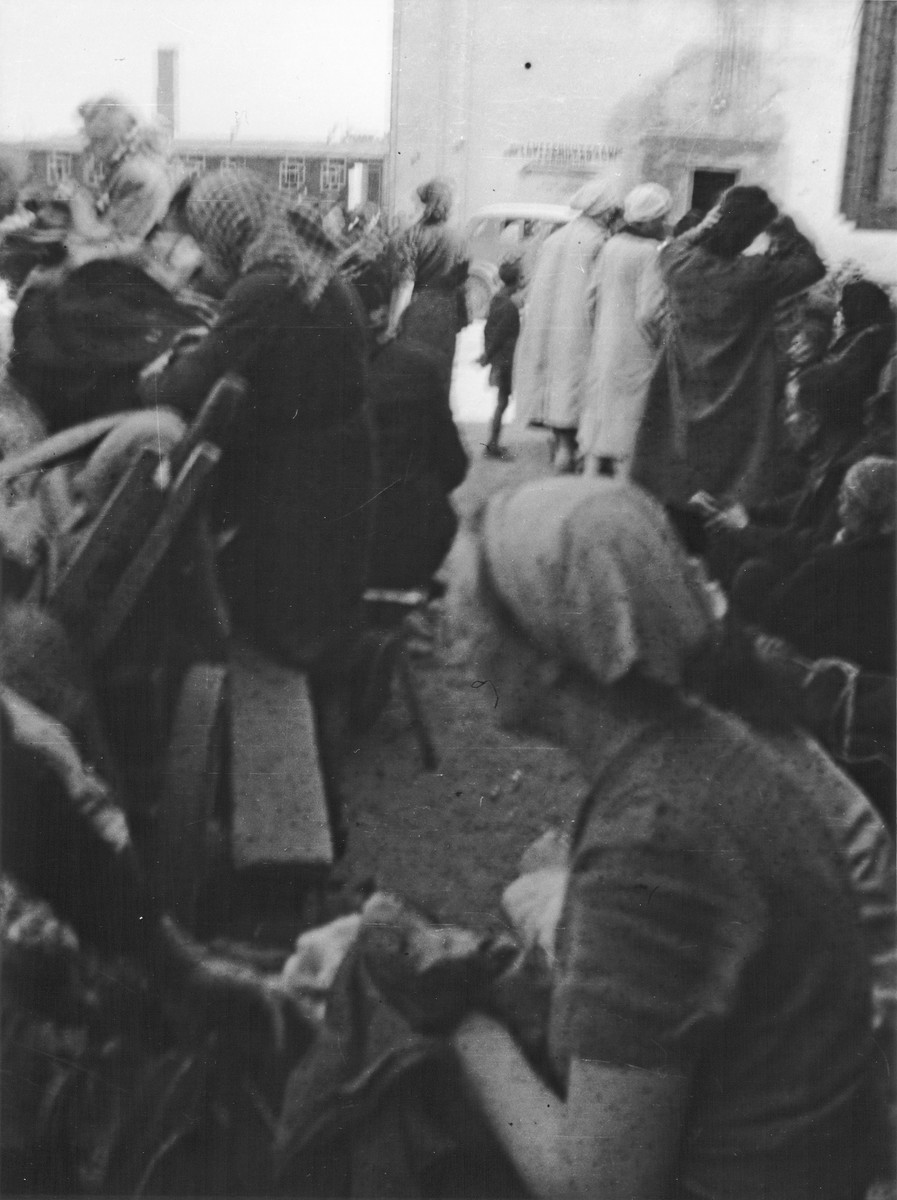 Clandestine photograph of civilian women and children from Warsaw taken either before or after their arrival  in  Ravensbrueck after the collapse of the Warsaw uprising.