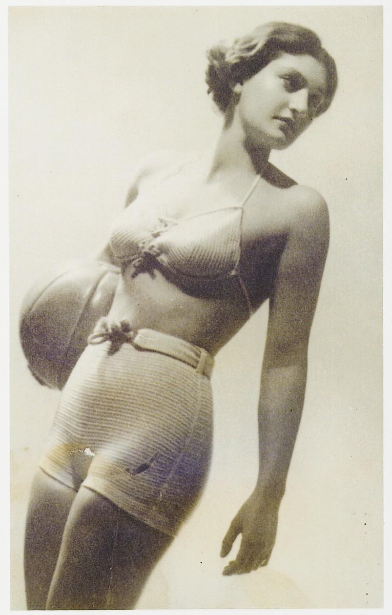 Austrian swimming champion, Ruth Langer, models a line of swimwear.