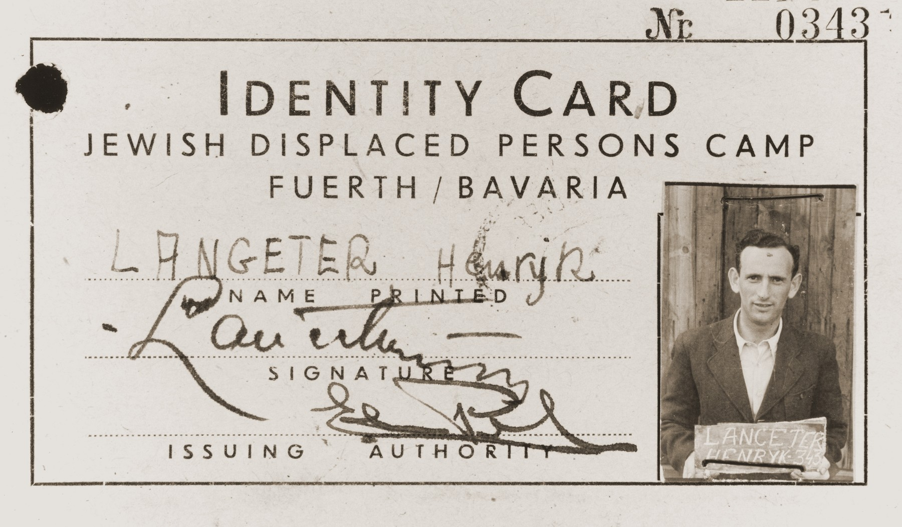 Identity card issued to Henryk Lanceter at the Jewish displaced persons camp in Fuerth, Bavaria.