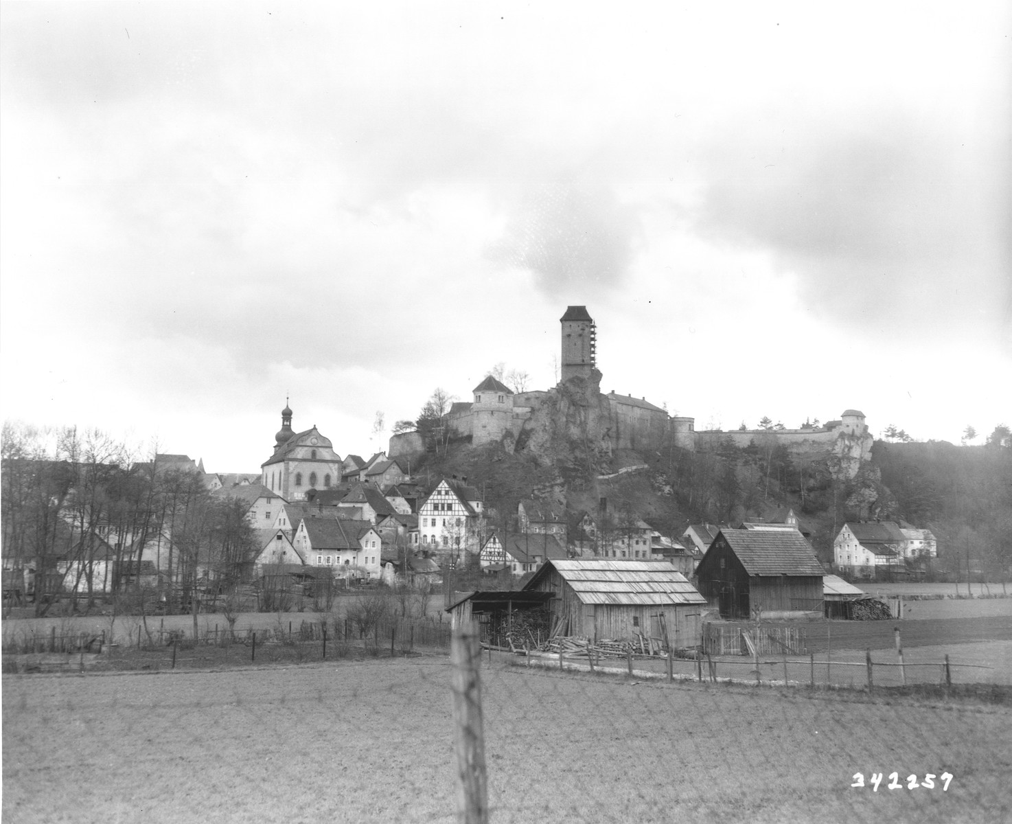View of Veldenstein castle owned by Herman Goering, where American military personnel uncovered looted property.