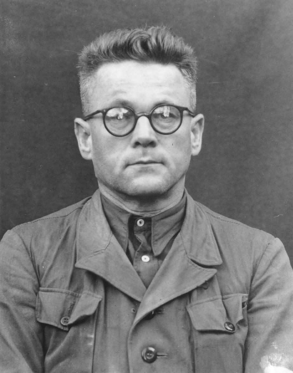 Portrait of Karl Gebhardt as a defendant in the Medical Case Trial at Nuremberg.