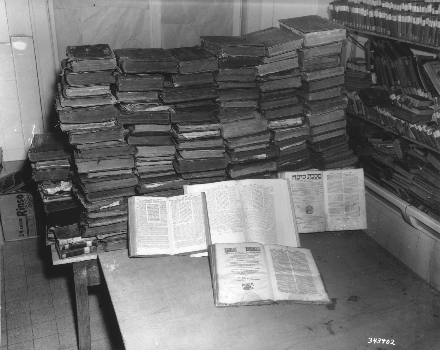 Jewish books looted by the Nazis are displayed at an institute in Heidelberg.