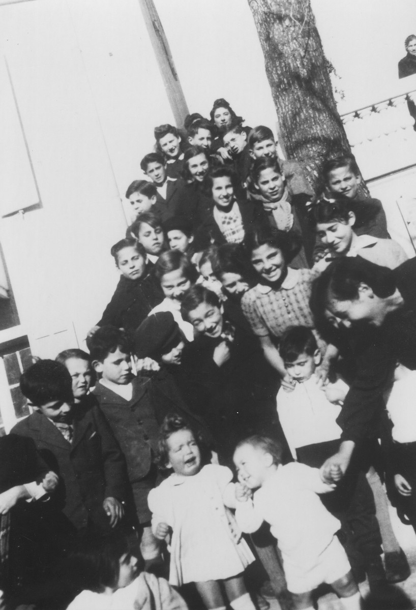 Group portrait of Jewish refugee children at the Hotel Bompard internment camp.