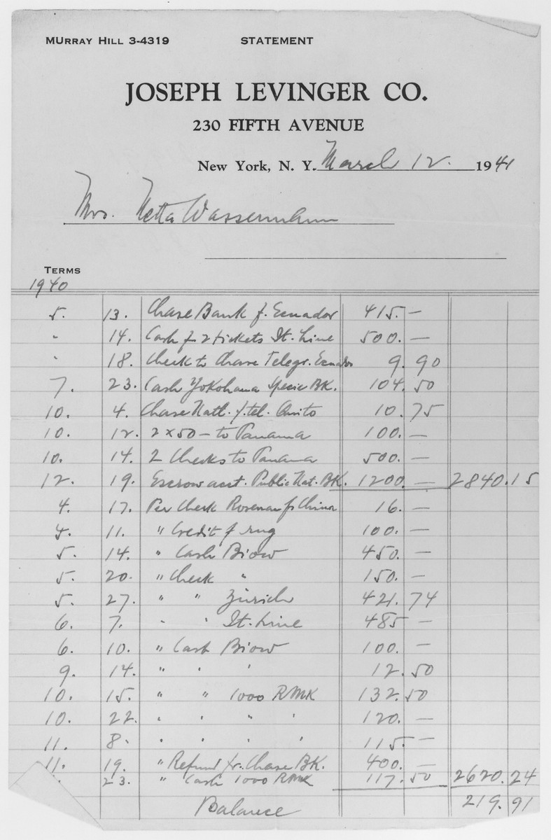 Page of a ledger kept by Joseph Levinger of New York City itemizing the payments he made on behalf of Nanette Wassermann to facilitate her immigration to the United States from Panama.