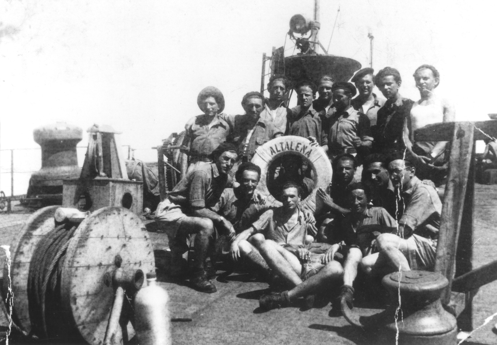 Group portrait of Jewish DPs aboard the Altalena, an immigrant ship bound for Israel.